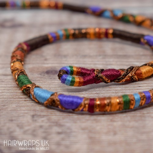 Removable Dark Rainbow Hair Wrap with Glass Beads - Rusty Rainbow.