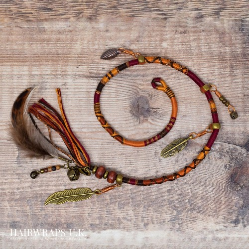 Removable Deep Red, Orange, and Brown Hair Wrap with Wooden Beads and Bronze Charms - Rusty Sparrow.