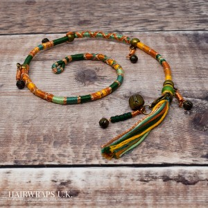 Removable Orange, Gold, and Green Hair Wrap with Glass Bead and Tibetan Bronze Charms - Sandlewood