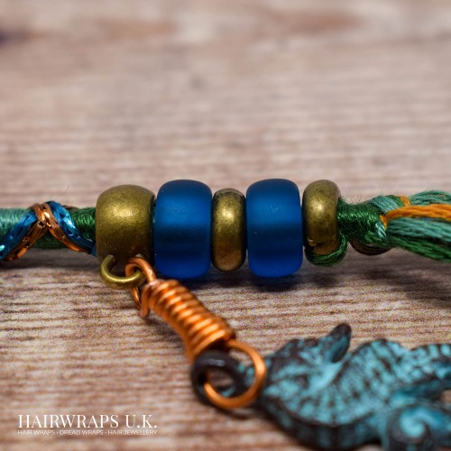 Removable Blue, Orange, and Yellow Hair Wrap with Glass Beads and Bronze Charms - Sea Tangle
