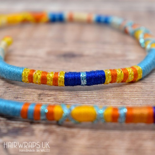 Removable Yellow, Blue and Orange Hair Wrap with Glass Beads – Seashore.