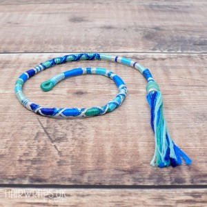 Removable Blue Hair Wrap with Glass Beads - Seaside Dreams.