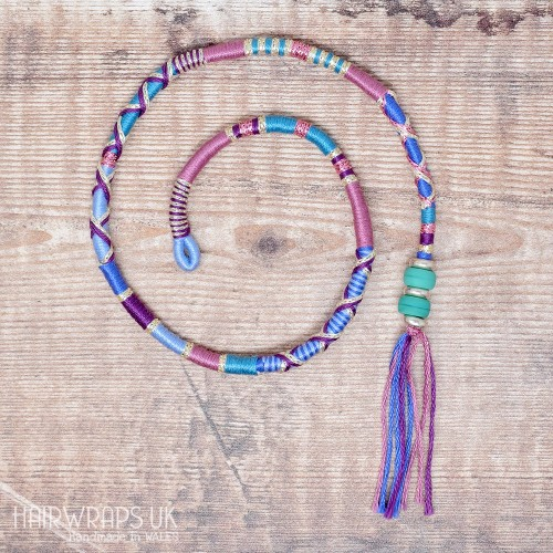 Removable Blue, Pink, and Purple Hair Wrap with Glass Beads – Silence.