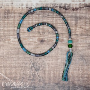Removable Green, Grey, and Blue Hair Wrap with Glass Beads – Siren.