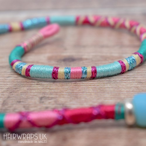 Removable Pink, Blue, and Cream Hair Wrap with Beads – Sleepover.