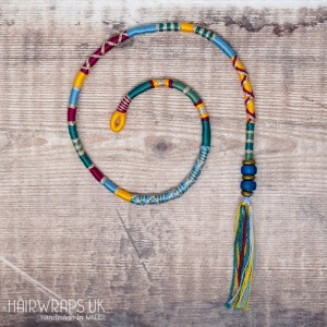 Removable Yellow, Blue, and Maroon Hair Wrap with Glass Beads – Songbird.