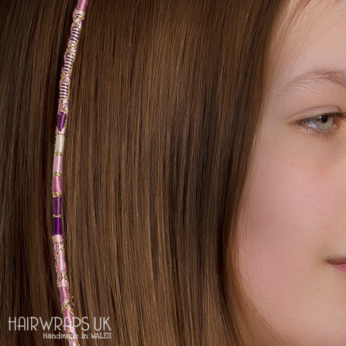 Removable Pink, Purple, and Cream Hair Wrap with Glass Beads – Soulmate.