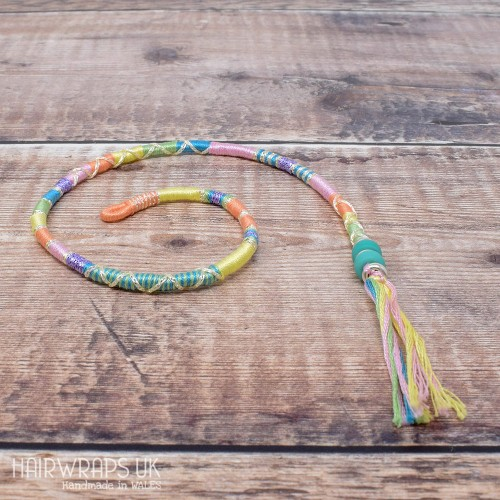 Removable Pastel Rainbow Hair Wrap with Glass Beads - Spring Time.