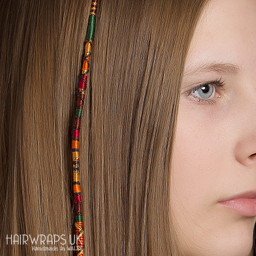 Removable Red, Orange, Brown, and Gold Hair Wrap with Wooden and Glass beads – Squirrel.