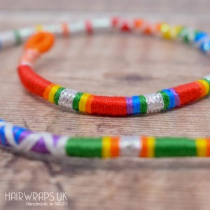 Removable Bright Rainbow and White Hair Wrap with Glass Beads - Summer Rainbow.