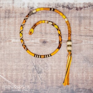 Removable Brown, Gold, and Yellow Hair Wrap with Wooden beads – Sunflower.