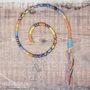 Removable Peach, Yellow, and Blue Hair Wrap with Glass beads – Sunrise.
