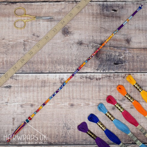 Removable Purple, Orange, and Blue Hair Wrap with Glass beads – Sunset.