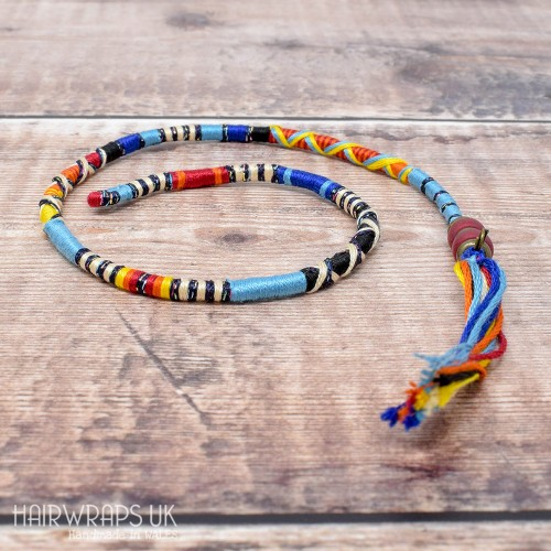 Removable Black, Blue, Orange, and Yellow Hair Wrap with Glass Beads – Swallow.