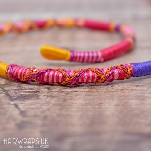 Removable Pink, Purple, and Yellow Hair Wrap with Wooden Beads – Sweetshop.