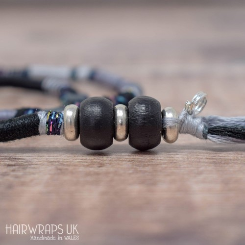 Removable Black and grey Hair Wrap with Wooden Beads - The Crow.