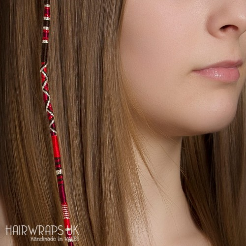 Removable Brown, Black and Red Hair Wrap with Wooden Beads – Toadstool.