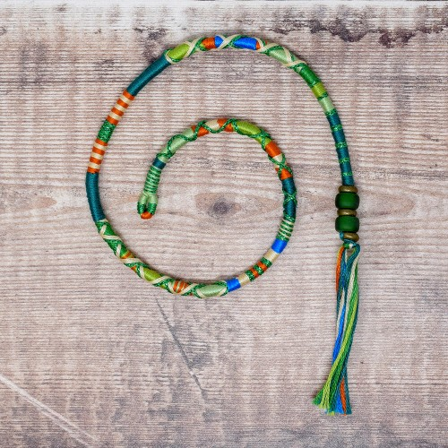 Removable Green, Blue and Orange Hair Wrap with Glass Beads - Tree Frog.