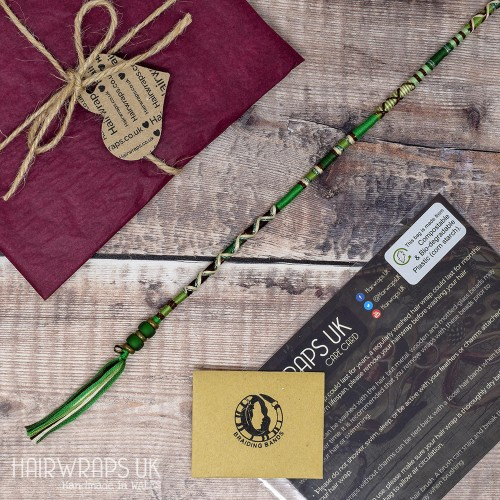 Removable Green, Cream, and Brown Hair Wrap with Glass Beads - Tree of Life.