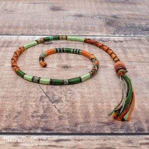 Removable Green, Gold and Brown Hair Wrap with Wooden Beads - Tree Fox.