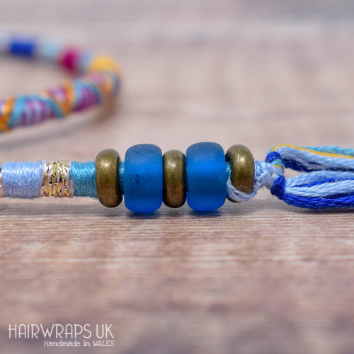 Removable Blue, Purple, and Yellow Hair Wrap with Glass Beads - True Friend.