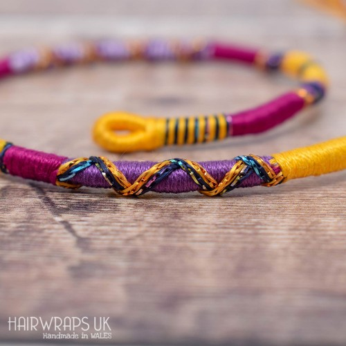 Removable Yellow and Purple Hair Wrap with Glass Beads – Voodoo.