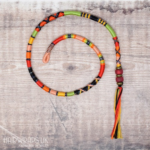 Removable Black, Red, and Green Hair Wrap with Glass Beads – Whiplash.