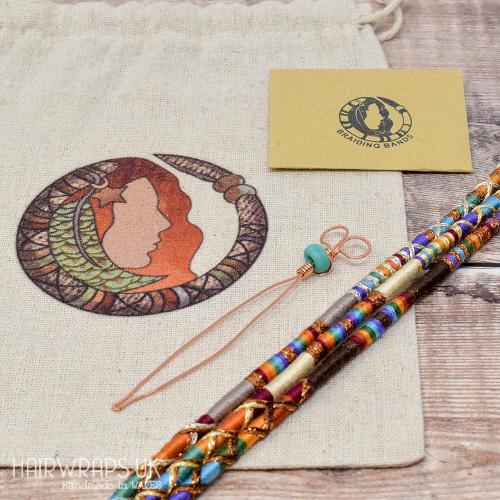 Gift Set of Three Matching Hair Wraps - Rainbow Set.